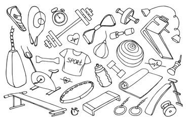 Doodle vector set of sport