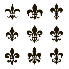 Set of 9 icons heraldic lilies