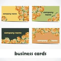 vector business cards. set of business cards in floral design. decoration for advertisement.Vector illustration