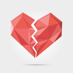 Polygonal Broken Heart in Vector