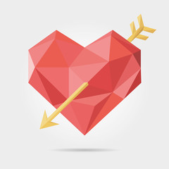 Polygonal Heart And Arrow in Vector