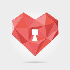 Polygonal Heart Lock in Vector