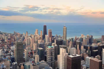 Wall Mural - Chicago skyline at sunset