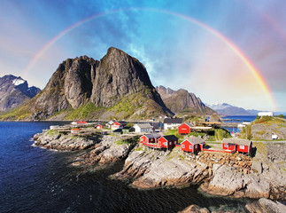 Wall Mural - Norwegian fishing village huts with rainbow, Reine, Lofoten Isla