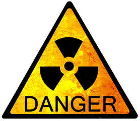 old yellow danger sign - radioactive