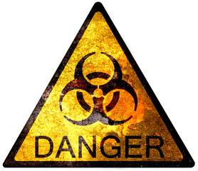 old yellow danger sign - biohazard