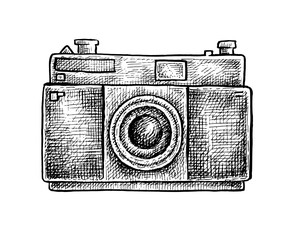 Black and white ink hand drawn camera
