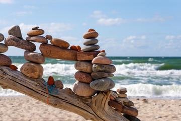 Concept of balance and harmony. Summer rock Zen.