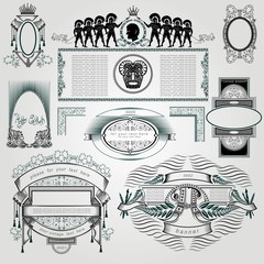 set of vintage frames and elements silhouettes