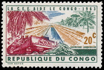 Stamp printed in Congo shows construction of road