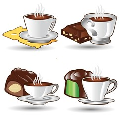 set tea and coffee cup with snack icons isolated on white