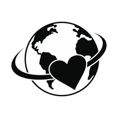 Love the earth black simple icon