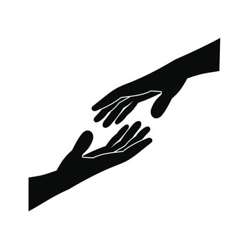 Two arms stretching towards each other icon
