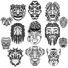 set of face or masks abstract silhouettes