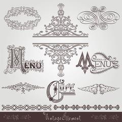 set of vintage calligraphic royal ellements lettering