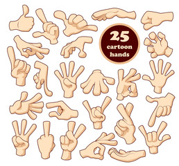 Comics cartoon hands set