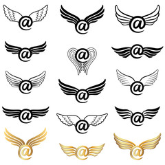 Email winged concept  golden and black collection. Mail icon set with wings