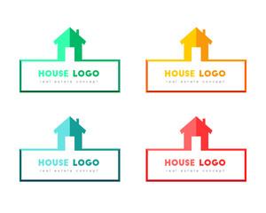 House logo design, color set. Real estate and partner concept.