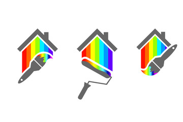 House painter design set with paint brush and roller. House made of color spectrum.
