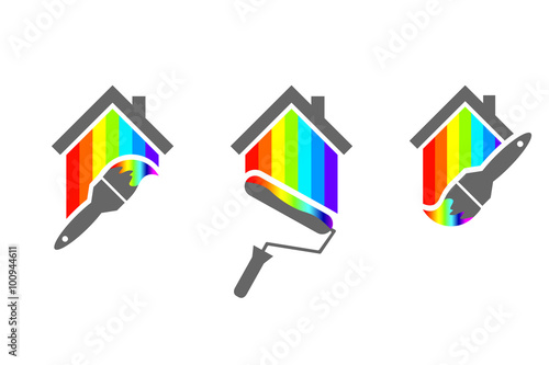 House Painter Design Set With Paint Brush And Roller Made Of Color Spectrum