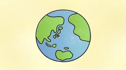 ゆるい手書き風地球のイラスト素材 白背景 Adobe Stock でこのストック
