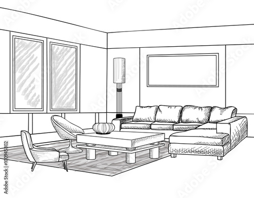 Interior outline sketch Furniture blueprint Living room Stock