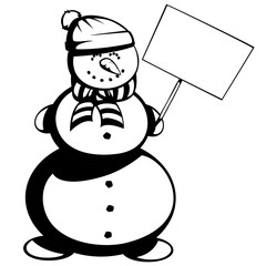 Mr. snowman - Silhouette of a cute snowman in scarf and hat is smiling and holding a bulletin board.