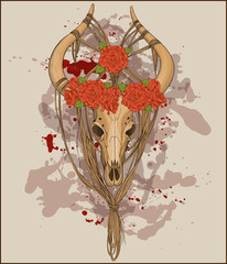 animal skull decorated with ropes and flowers