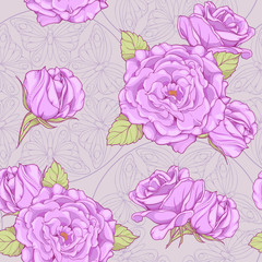 pattern with roses and butterflies in background