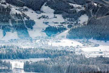 Wintery village in alpine valley, Tyrol, Austriai