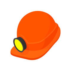 Helmet with a flashlight cartoon icon