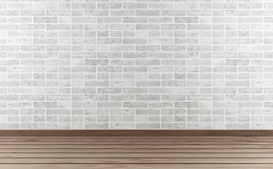 White stone wall and hardwood floor