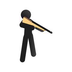 A man training sport shooting isometric 3d icon