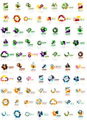 Paper style geometric shapes with glass effects. Corporate abstract logo design icon concepts