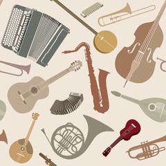 Abstract Music Background. Seamless pattern with musical instruments