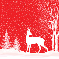 Christmas background. Snow winter landscape with deer.  Merry Chriistmas card