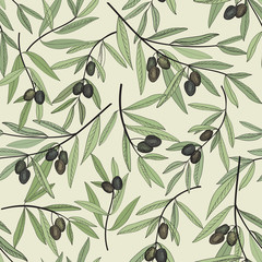 Olive seamless pattern. Hand drawn olive branch background.