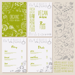 Restaurant organic natural vegan Food Menu set Vintage Design with Chalkboard