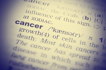 Cancer Dictionary Definition single word. Toned image