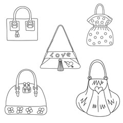 Set of bags on white background.