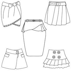 Set of skirts on white background.