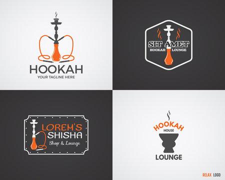 Set of Hookah relax labels, badges and design elements in 2 color variations. Vintage shisha logo. Lounge cafe emblem.  Arabian bar or house, shop insignia. Trendy palette. Isolated vector