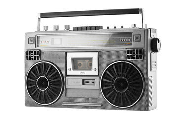 Silver old-school  ghetto blaster or boombox isolated on a white