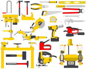 Top view of an isolated set of tools for the repair of a carpenter on a white background. Woodworking and carpentry, construction tools. Vector illustration