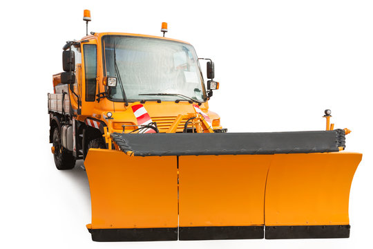 Snow plow removal machine isolated with clipping path