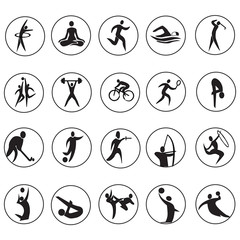 summer Olympic games 20 twenty icon vector set
