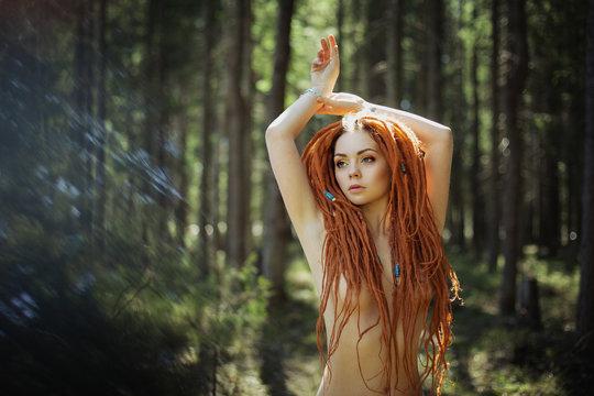 Amazon redhead woman with dreadlocks