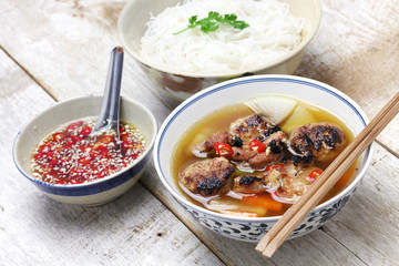 bun cha, grilled pork rice noodles and herbs, vietnamese cuisine