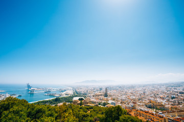 Cityscape panoramic aerial view of Malaga, Spain. Panorama of re