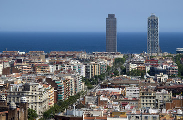 View towards the sea in Barcelona, Spain
